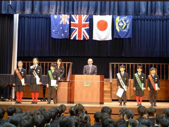前期級長・副級長・ハウスリーダー任命式,1年生を迎える会